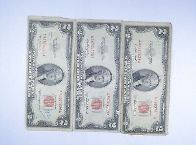Lot (3) Red Seal $2.00 US 1953 or 1963 Notes - Currency Collection *091
