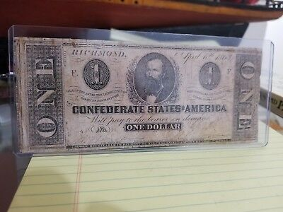 1863 Confederate States Of America One Dollar