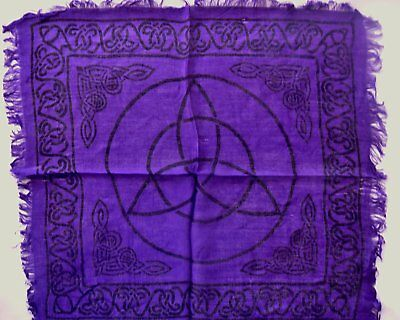 """Altar Cloth/Wiccan/Pagan/Wall Tapestry/Scarve Purple Triquetra 18"""" x 18"""" SCV23P"""