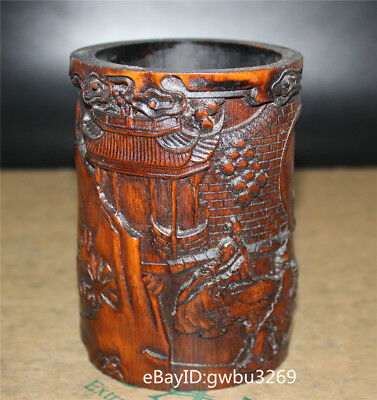 Chinese Bamboo Pen holder  Hand Carved Old man playing chess house Brush Pots