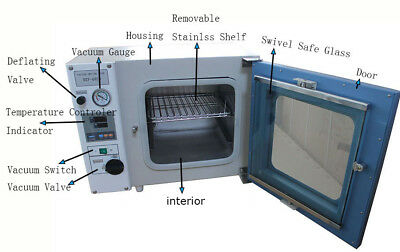 """110V 1.9Cu ft Vacuum Drying Oven Chamber Size 16x14x14"""" Lab Equipment up to 250℃"""