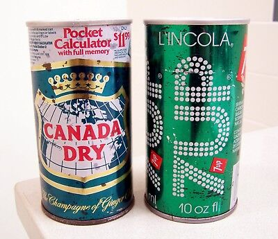 "**vintage CANADA DRY ""pocket calculator""/7-UP BO 10 oz. soda cans from Canada"