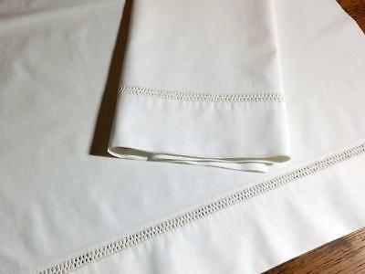 Antique Pillowcase Set Venetian Lace Drawn Work Hemstitch  21x31""