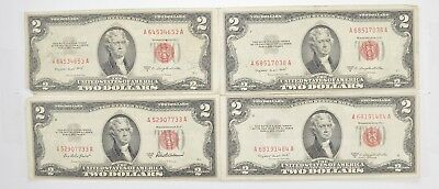 Lot (4) Red Seal $2.00 US 1953 or 1963 Notes - Currency Collection *470