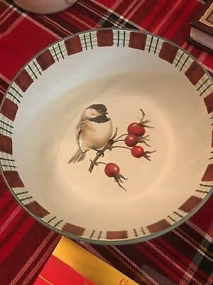 "Lenox Winter Greetings Everyday 6 7/8"" Soup Cereal All Purpose Bowl Chickadee"