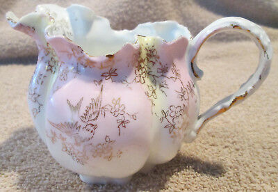 Antique Ornate Hand Painted Fine China Syrup Pitcher Featuring Birds & Flowers