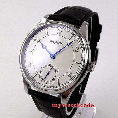 44mm parnis white dial blue marks asia 6498 hand winding mens wrist watch 29B