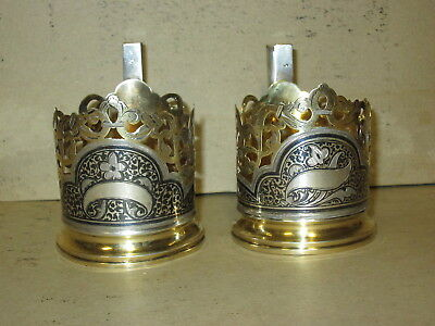 Pair of Russian 875 Silver Tea Glass Cup Holders Hallmarked Gold Wash 179g