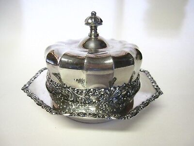 Fluted Silverplate CHEESE/BUTTER DISH Round w/LID Rogers Smith+Co VGC no liner