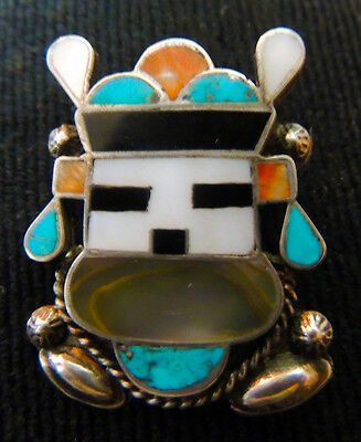 1940s-50s Zuni attr Oliver Cellicion Pin Rain Dancer Kachina CG Wallace Era