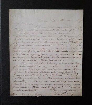 1849 JONATHAN HARVEY Signed (Autographed) Letter ~ New Hampshire Politician