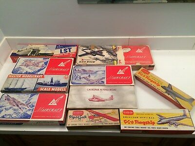 vintage ww2 era wood model kits airplanes,boats unassembled military LOT OF 10