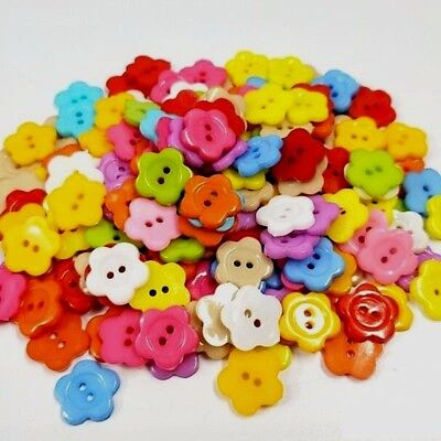 "Pack of 100 SMALL FLOWER Plastic Buttons 3/8"" (10mm) Craft Scrapbook (2102)"