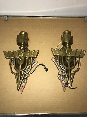 Vintage Pair of Electric Wall Sconce 950 Brass Leviton Socket