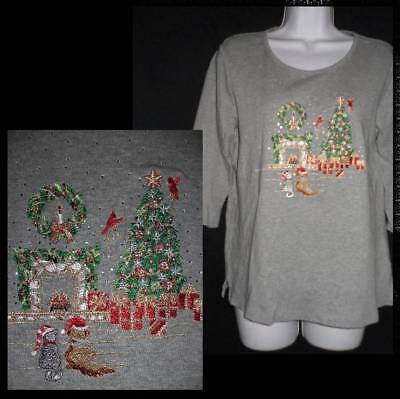 Quacker Factory Ugly Christmas Angels Black Cotton Blend Cardigan