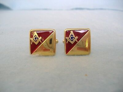 Vintage Gold Toned And Red Enamel Masonic Cufflinks