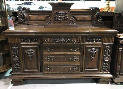 RARE 19th Century LARGE Baroque BUFFET SERVER Fruit & Lions Head Table Sideboard