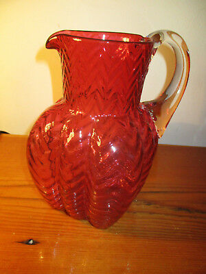 "Cranberry Glass Pitcher 8""  square bottom applied handle"