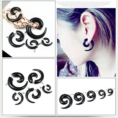 1 pc Black Gothic mens womens Acrylic Snail ox horn Stud Earrings Piercing