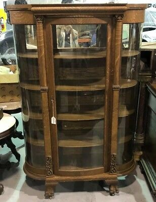 RARE 19th Century LARGE Antique Carved Victorian Glazed Rounded CABINET Cupboard