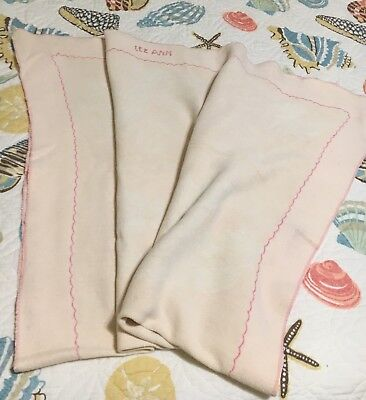 Vintage Pink Baby Blanket w/ Bunny, Ducks, Lilypads 1956 Homemade
