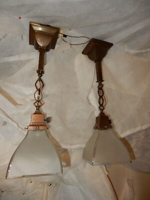 Pr. Arts & Crafts Brass Pendants Light Fixtures w Old Shades