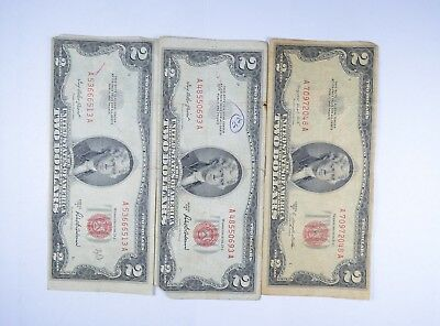 Lot (3) Red Seal $2.00 US 1953 or 1963 Notes - Currency Collection *088