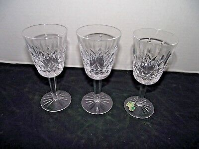 3 Waterford Crystal Lismore Claret Wine Glasses