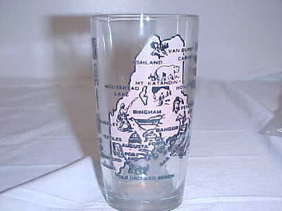 Vintage State of Maine Souvenir Glass Pink & Black w/Map Wording & Highlights