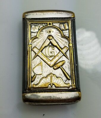 Antique 1904 Masonic nickel plated brass match safe vesta case