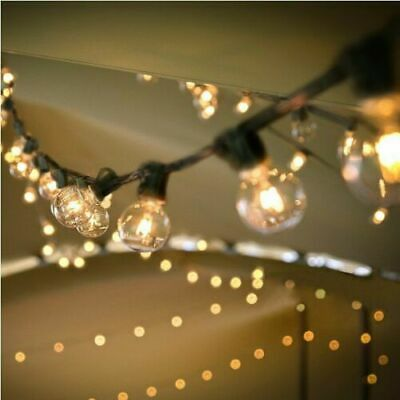 (2 Pack) 25Ft Outdoor Patio Hanging String Lights, (50 Bulbs /50FT) In&Outdoor