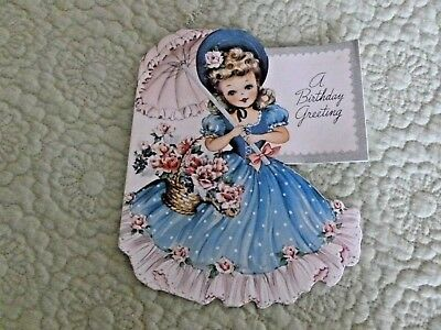 Sweet Vintage ~Unused~ Greeting Card ~ Little Girl With A Parasol And Flowers