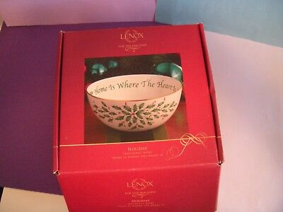 """Lenox Holiday Sentiment Bowl 7"""" -''HOME IS WHERE THE HEART IS'' - in box"""