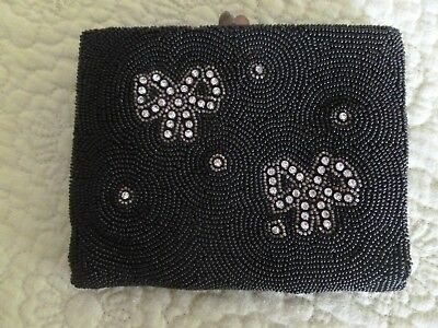 Gorgeous Vintage Saks Fifth Avenue Rhinestone And Black Seed Purse