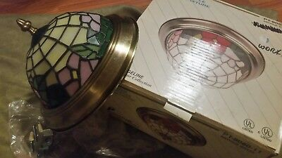 Vintage Tiffany Style Lamp Pendant Ceiling Light Fixture - Antique brass - Used