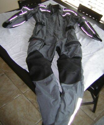 Olympia Moto Sports One Piece Riding Suit XL MOTORCYCLE JACKET PANT GRAY BLACK