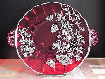 """Vtg Sterling Silver Overlay On a Ruby Red Glass Overlay 13"""" Tray Platter Poppies"""
