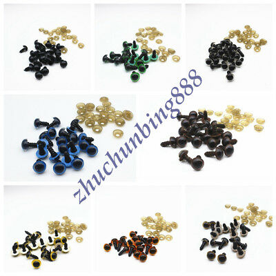 100pcs 10-12mm 8 Color Plastic Safety Eyes for Bear Doll Puppet Plush Animal Toy