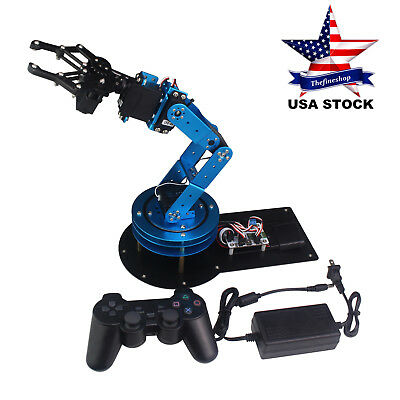 LeArm Unassembled 6DOF Mechnical Robotic Arm+ 6PCS Digital Servo PS2 Handle US