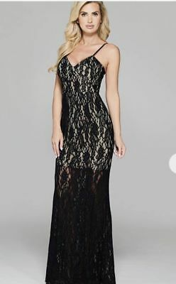 228 GUESS BY MARCIANO BLACK ROCSI LACE CORSET Maxi FORMAL GOWN DRESS XS SZ  2 429b15a28f5c