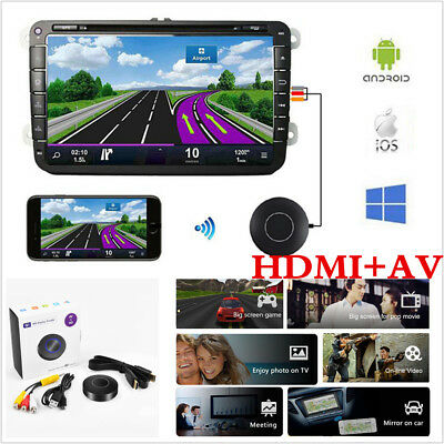 HD 1080P WIFI Display Dongle Adapter Car HDMI+AV Miracast DLNA AirPlay TV Stick