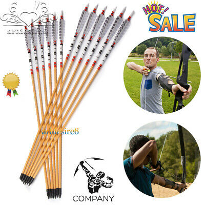 12pcs 80cm Wooden Pine Arrows Bolt Nock for Compound Bow Longbow Archery Hunting