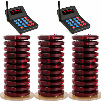 999CH Restaurant Wireless Call Paging Queuing System 2*Transmitter+30xPager USB