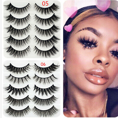 5 Pairs 3D Faux Mink Hair False Eyelashes Wispies Long Cross Lashes Eye Makeup