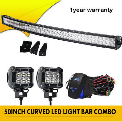 """52inch Led Light Bar + 4"""" Cree Work PODS Offroad Fit 4WD ATV SUV Jeep Ford 50"""