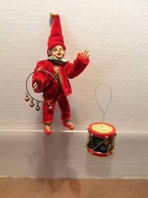 """6"""" tall Elf / Fairy Boy dressed in Red Velveteen Outfit with Brass Ring"""