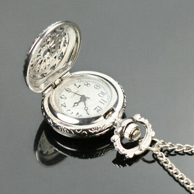 Antique Women Lady Silver Tone Hollow Round Quartz Pocket Watch Necklace Charm