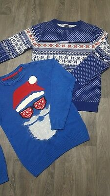 Next Boys Christmas Jumpers Age 9 Years (8-9) Bundle,cotton Knit,xmas,party,exc