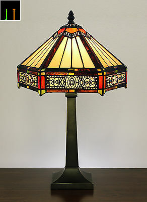 JT Tiffany Six-Sided Vintage Style Stained Glass Table Bedside Lamp Leadlight