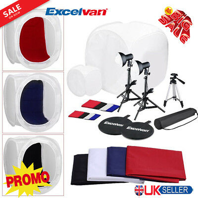 Excelvan Tabletop Complete Photo Studio Kit with 2 Light Tents and 8 Backgrounds